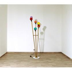 Floor Lamp, Art. 1074, 6 LAMPSHADES - Brass / Marble / Opaline Glass