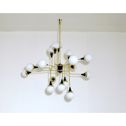 Ceiling Lamp Art. 1088 - 16 DIFFUSERS - Brass / Opaline Glass