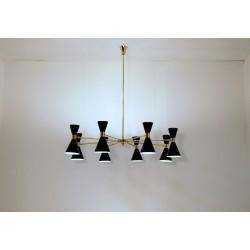 Lampada da Soffitto Art. 1084, 8 DIFFUSORI Doppio Cono - Ottone / Metallo
