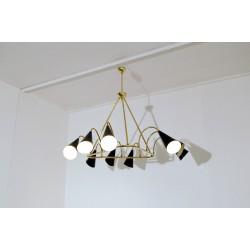 Ceiling Lamp - Art. 1080 - 9 DIFFUSERS - Brass / Metal