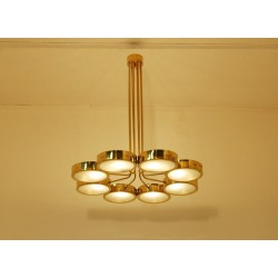 Ceiling Lamp Art. 1700 - 8 DIFFUSERS - Brass / Opaline Glass