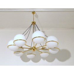 Ceiling Lamp Art. 1701 - 8 DIFFUSERS - Brass / Opaline Glass