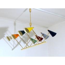 Lampada da Soffitto - Art. 1702 - 8 DIFFUSORI Snodati - Ottone / Metallo