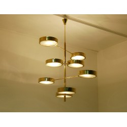 Ceiling Lamp Art. 1703 - 8 DIFFUSERS - Brass / Opaline Glass