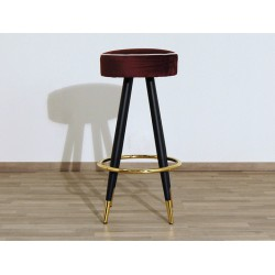 Velvet Stool - Art. 1706 - Metal Structure - Red Color
