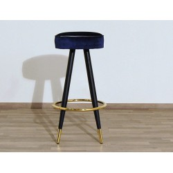 Velvet Stool - Art. 1707 - Metal Structure - BLUE Color