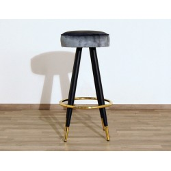 Velvet Stool - Art. 1708 - Metal Structure - Light Blue Color