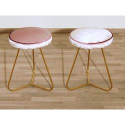 Pair of Original Velvet Stools - Art. 1712 - Brass Structure - PINK Color