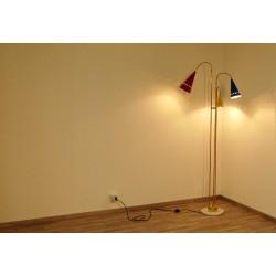 Lampada da Terra, Art. 1075, 3 DIFFUSORI Snodati - Ottone / Metallo / Marmo