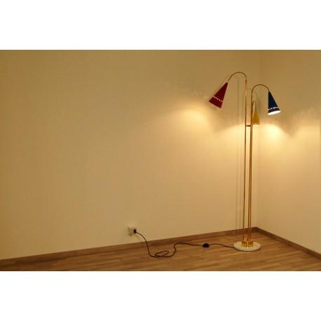 Floor Lamp, Art. 1075, 3 LAMPSHADES - Brass / Metal / Marble
