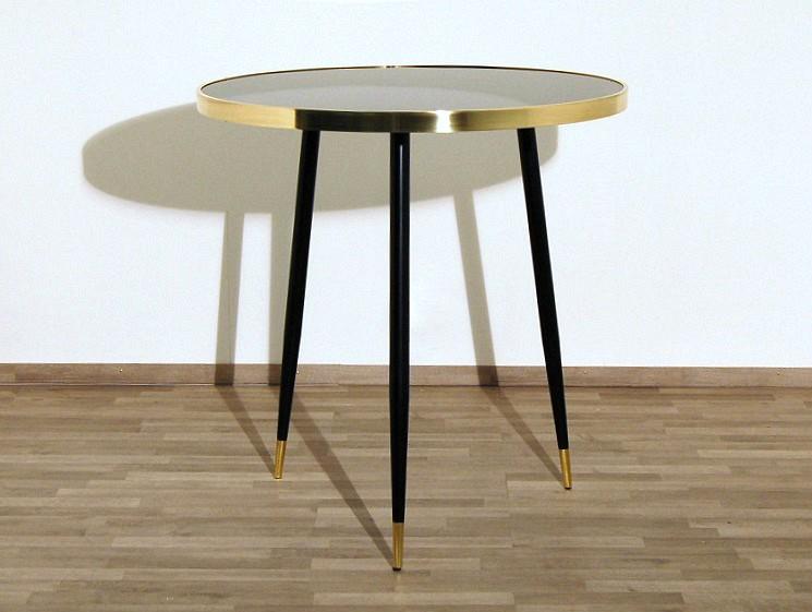 Tavolo art piano in vetro nero bordo ottone