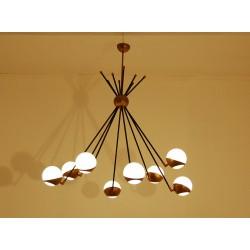 Lampada da Soffitto Art. 1201, 8 DIFFUSORI - Ottone / Vetro Opalino